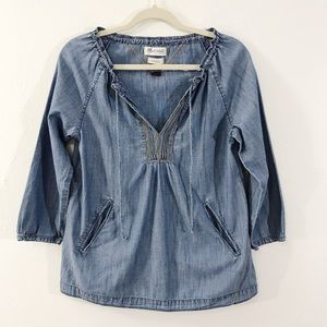 Madewell 3/4 Sleeve Denim Pullover Top